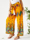 Ethnic Flowers Print Bowknot Wide Leg Casual Pants - Yellow