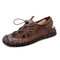 Men Large Size Lace-up Closed Toe Hand Stitching Outdoor Sandals - Brown