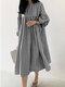 Plaid Print Pleated Puff Sleeve Casual Dress for Women - Black