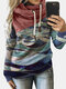 Print Contrast Color Patchwork Long Sleeve Hoodie For Women - Red
