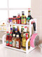 Kitchen Shelf Double-layer Spice Rack With Five-grid Seasoning Box Multi-function Rack With Cutting Board Rack And Knife Rack - #16