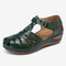 LOSTISY Women Hollow Comfy Wearable Beach Casual Wedges Sandals - Dark Green