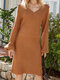 Solid Color V-neck Puff Sleeves Casual Sweater Dress - Brown