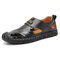 Large Size Men Hand Stithcing Closed Toe Outdoor Leather Sandals