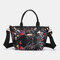 Women Large Capacity Nylon Flowers Printed Handbag Crossbody Bag - #05