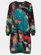 Tie Dye O-neck Long Sleeve Casual Dress For Women - Green