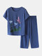 Women Butterfly Print Loungewear Short Sleeve Floral Loose Breathable O-Neck Summer Pajamas To Wear Outside - Navy