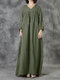 Women Solid Color Loose Patchwork Drawstring Casual Vintage Dress - Green