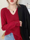 Solid Color Long Sleeve V-neck Button Sweater For Women - Red