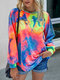 Tie-dyed Print O-neck Long Sleeves Casual Sweatshirt For Women - As Picture