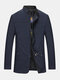 Mens Solid Color Stand Collar Plain Casual Jackets With Pocket - Navy