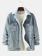 Mens Sherpa Lined Warm Cotton Button Up Lapel Denim Jacket With Pocket - Blue