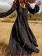 Floral Print Long Sleeves V-neck Casual Dress For Women - Black
