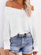 Solid Color Off Shoulder Pullover Knitted Sweater For Women - White