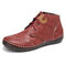 SOCOFY Old Peking Solid Color Splicing Block Stitching Lace Up Soft Flat Boots - Red