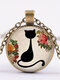 Vintage Geometric Glass Printed Women Necklace Cute Cartoon Cat Sweater Chain Clavicle Chain - #06