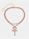 Cross Peach Corazón Collar Temperamento Borla Collar multicapa Cadena de garra completa simple - Rosado
