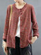 Floral Pattern Button Long Sleeve Pocket O-neck Cardigan - Red