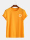 Mens Solid Color Smile Face Print Summer Holiday T-Shirts - Yellow