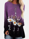 Calico Print Gradient Color Long Sleeve Loose Casual T-Shirt - Purple
