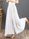 Casual Solid Color Wide-legged Elastic Waist Pants For Women - White