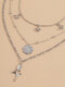 Vintage Rose Flower Multi-layer Necklace Temperament Butterfly Tassel Hollow Necklace - Silver