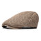 Men Thickening Adjustable Cotton Solid Warm Breathable Vintage Wool Knitting Beret Cap - Khaki