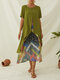 Print Patchwork Fake Two Pieces Plus Size Summer Dress - Green