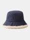 Women Lamb Wool Casual Thicken Warm Winter Thermal Hat Bucket Hat - Navy