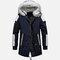 Mens fur Hooded Winter Coats Thicken Warm Down Coats Sport Parkas - Blue & White