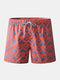 Men Geometric Mesh Liner Board Shorts Orange Beach Shorts With Pockets - Orange