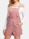 Solid Color Pocket Sleeveless Casual Overall Romper for Women - Pink
