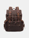 Men Retro Outdoor Waterproof Genuine Leather Canvas Patchwork Hiking Travel Backpack - Coffee