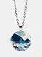 Trendy Metal Round Landscape Print Glass Pendant Necklace - Silver