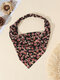 Women Country Style Floral Rose Pattern Elastic Triangle Wrap Headscarf Headband - Black
