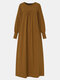 Women Vintage Solid Color Long Sleeve O-neck Casual Dress - Brown