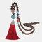 Vintage Buddha Wood Beads Long Necklace Ethnic Geometric Tassel Pendant Sweater Chain - 13