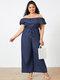 Casual Off Shoulder Short Sleeve Wide Leg Plus Size Jumpsuit with Pockets - Dark Blue
