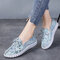 Women Soft Genuine Leather Lace Up Casual Walking Shoes - Blue