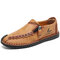 Menico Men Hand Stitching Leather Non Slip Soft Sole Casual Shoes - Yellow