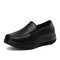 Women's Solid Color Slip On Casual Brief Flats - Black