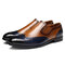 Menico Uomo Elegante color blocking Brogue Slip On Business Scarpe casual formali