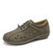 LOSTISY Hollow Out Closed Toe Slip On Casual Flat Shoes - Green