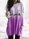 Cat Print Long Sleeves O-neck Casual Blouse For Women - Purple