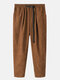 Mens Corduroy Solid Color Loose Pants With Push Buckle - Khaki