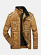 Mens Faded Effect Zip Front Casual Washed PU Jackets With Pocket - Yellow