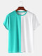Mens Colorblock Breathable & Thin Casual Round Neck T-Shirts - Green