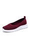 Women Comfy Breathable Knitted Fabric Soft Slip On Casual Shallow Walking Shoes - Red