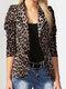 Leopard Print Long Sleeves Button Lapel Jacket Suit with Shoulder Pad - Beige