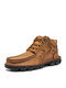 Salkin Men Hand Stitching Comfy Microfiber Leather Ankle Boots - Yellow